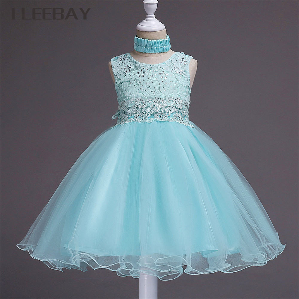 Summer Baby Girls Formal Dress+Headband Kids Lace Flower Girl Dresses for Weddings Children Party Tulle Diamond Clothes Costume ems dhl free 2017 new lace tulle baby girls kids sleeveless party dress holiday children summer style baby dress valentine