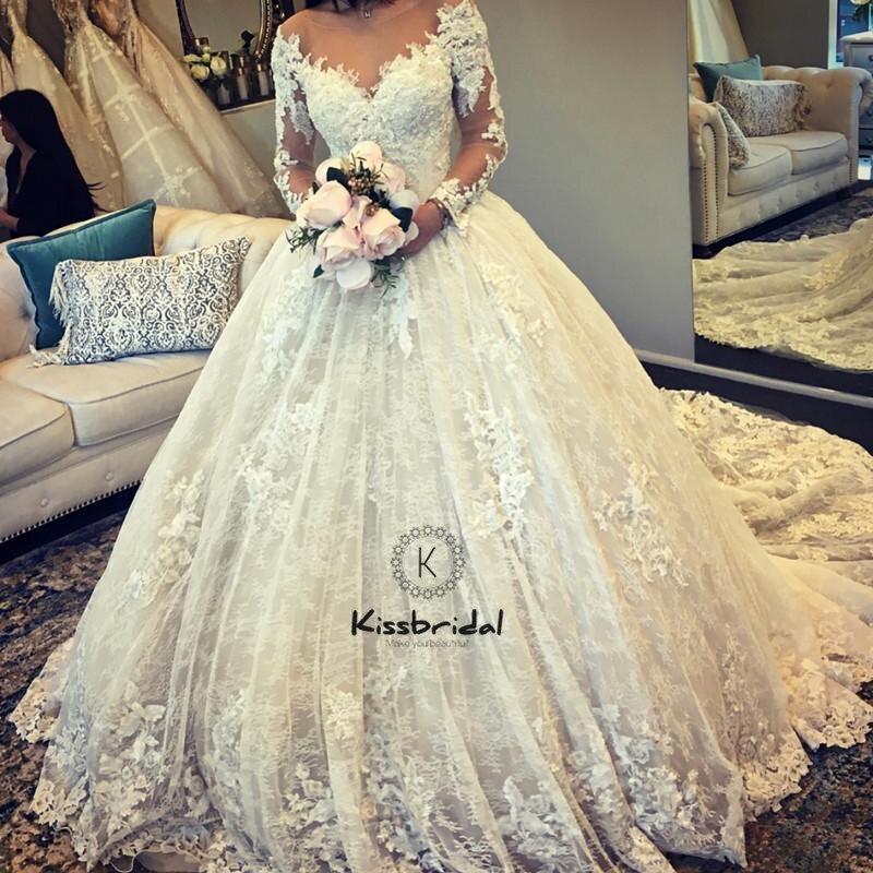 Халат de mariée 2018 элегантный Свадебные платья А с длинным рукавом Винтаж Кружева платье невесты и пуговицы сзади
