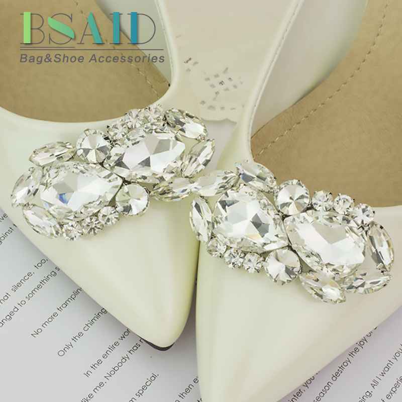 BSAID Shoes Accessories For Women 1pcs/2pcs Flower Crystal Shoe Clips Wedding Shoes Heels Ornament Rhinestone Shoe Charms Clamp fashion crystal rhinestone shoe flower charms clip gem women s shoes accessories wedding shoes decoration 1pair free shipping