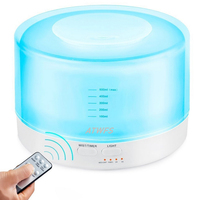 500ml Remote Control Aromatherapy Diffuser Ultrasonic Mist Maker Humidifier Aroma Lamp Fogger Timer Settings 7 Color