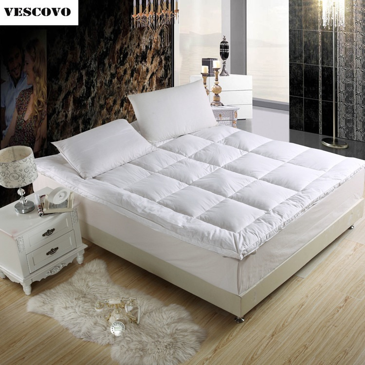 White Goose Down Quilted Mattress Topper With Straps Home Furniture For Home/Five Star Hotel