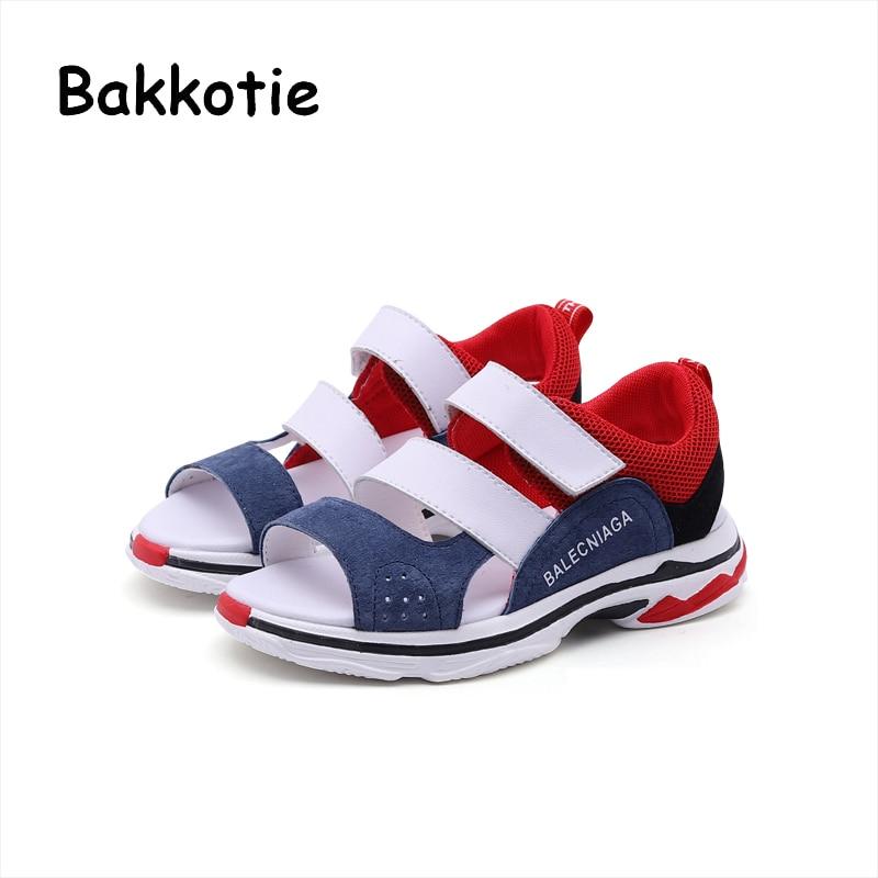 Bakkotie 2018 New Summer Baby Boy Beach Sandal Children Fashion Casual Genuine Leather Toddler Girl Sport Brand Black Shoe Kid