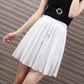 Yichaoyiliang Preppy Style Sweet White Chiffon Skirt for Women Summer Pleated Skirt Elastic Drawstring Waist Slim A-line Skirt