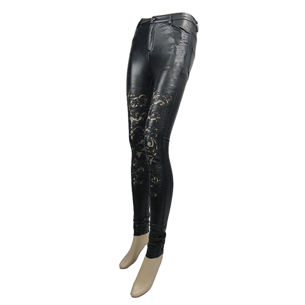out Femmes Creux Haute Crayon Leggings Skinny Long Cuir En Noir Dentelle Punk Sexy Pantalon Black Taille Faux C50f584q