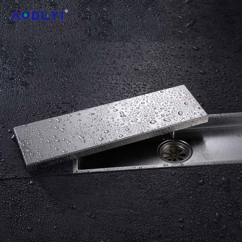 AODEYI 304 Solid Stainless Steel 300 X 110mm Square Anti-Odor Floor Drain Bathroom Invisible Shower Floor Drain AODEYI 304 Solid Stainless Steel 300 X 110mm Square Anti-Odor Floor Drain Bathroom Invisible Shower Floor Drain