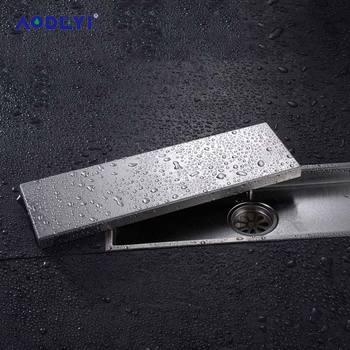 AODEYI 304 stałe ze stali nierdzewnej 300X110mm kwadratowych antyzapachowej wpustu łazienka niewidzialne prysznic odpływ podłogowy tanie i dobre opinie Kanalizacji Innych Polerowane 11-039 STAINLESS STEEL Piętro Typ dezodoryzacji Wspólna wpustu 300*110mm 300mm*110mm anti-odor