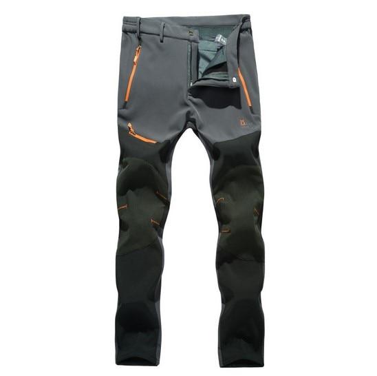 Softshell Pants Men Breathable Thermal Waterproof Pants Men Outdoor Sport Camping Hiking Pants Fleece Outdoor Pants JK11