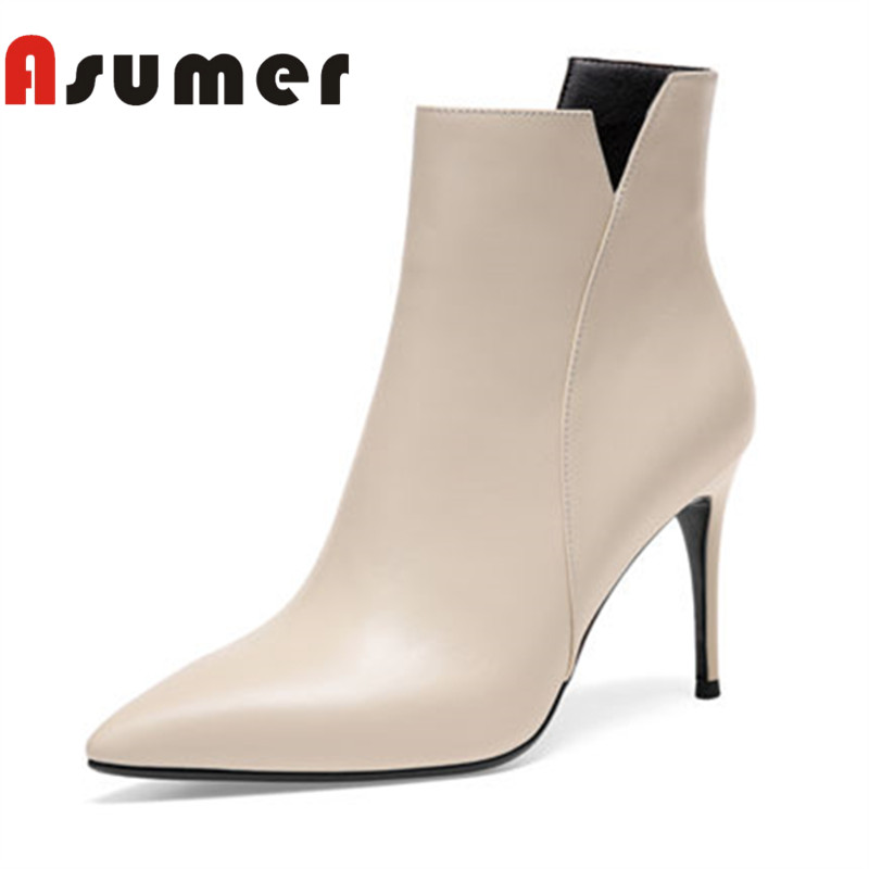 ASUMER 2018 NEW adult pointed ankle boots elegant fashion temperament women boots thin heels solid sexy genuine leather bootsASUMER 2018 NEW adult pointed ankle boots elegant fashion temperament women boots thin heels solid sexy genuine leather boots