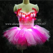 С подсветкой Sexy Lady балетное платье с подсветкой свет бар Костюмы для бальных танцев Одежда для танцев LED для рождественской вечеринки события Костюмы
