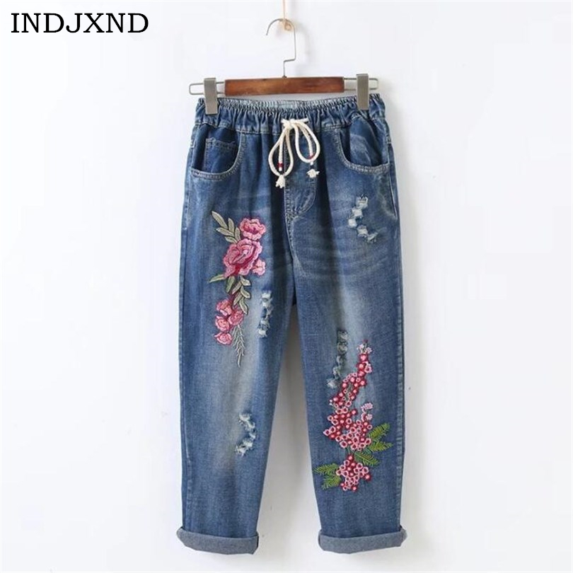 Women Pencil Pants Stretch High Waist Skinny Embroidery Jeans Without Ripped Woman Floral Holes Denim Pants Trousers Women Jeans
