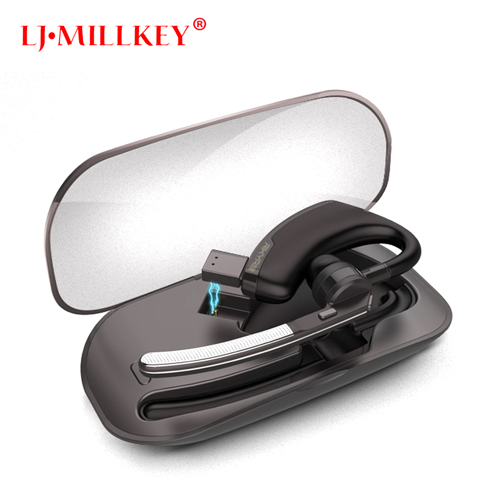 Handsfree Business Bluetooth Earphone With Mic Voice Control Wireless Bluetooth Headset With Charging Box Mini LJ-MILLKEY YZ114 new dacom carkit mini bluetooth headset wireless earphone mic with usb car charger for iphone airpods android huawei smartphone