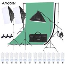Andoer Photo Studio 조명 키트 Softbox + 전구 + 전구 소켓 + 라이트 스탠드 + 캔틸레버 스틱 + 백 드롭 + 백 드롭 스탠드 + 스프링 클램프