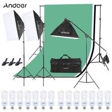 Andoer kit de iluminação para estúdio fotográfico, kit de iluminação softbox + lâmpada + suporte de luz + aderente + fundos + suporte de fundos + braçadeira mola