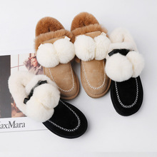 Stylish lightweight and comfortable warm wear-resistant non-slip womens snow boots fur ball decoration furry shoes