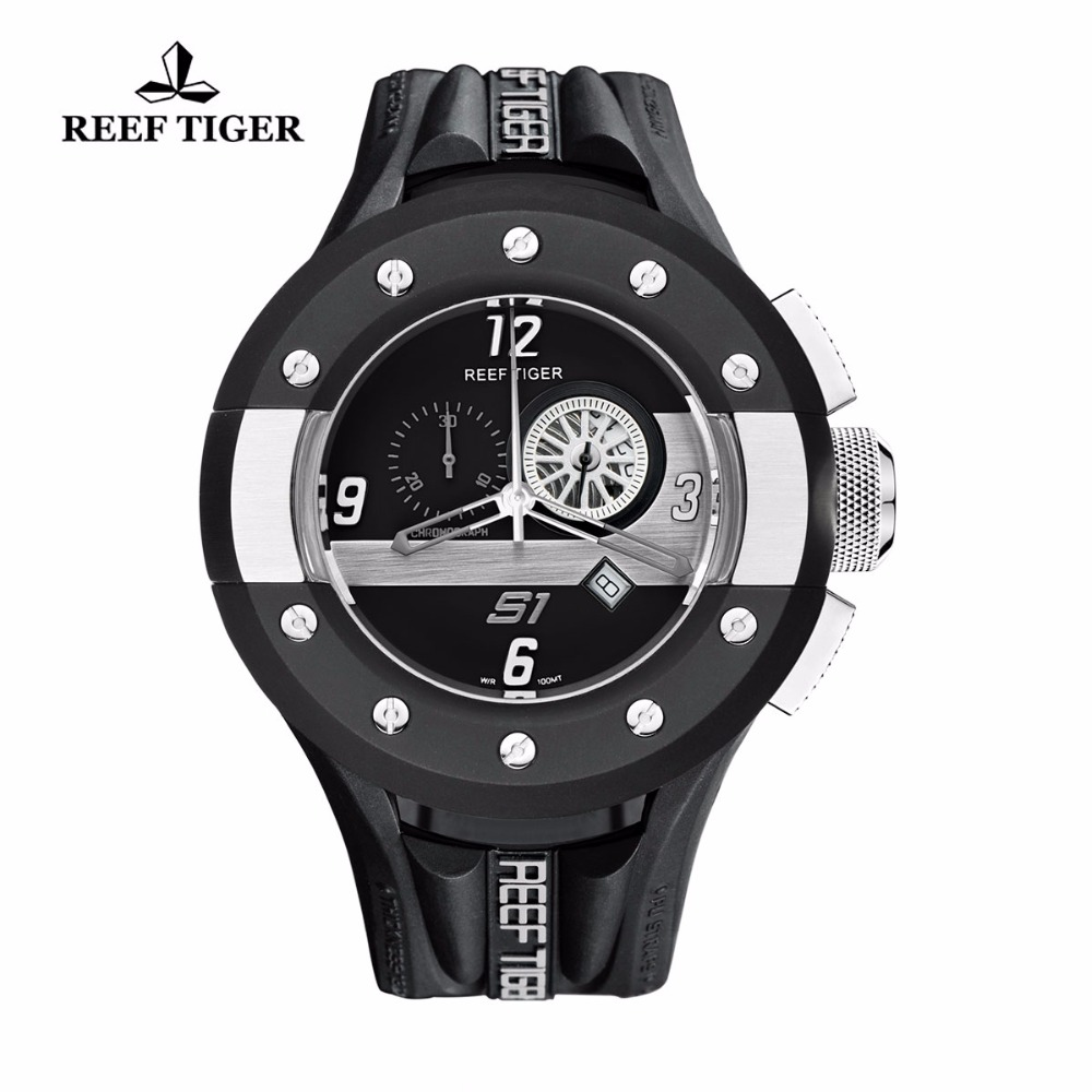 Reef Tiger/RT Quartz Sport Watches Dashboard Dial Rubber Strap Watch Stainless Steel Watch with Date RGA3027 reef tiger rt chronograph sport watches for men dashboard dial watch with date quartz movement steel watches rga3027