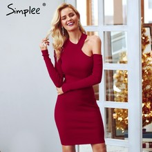 c84fddf0de Simplee Sexy bodycon cold shoulder sweater women dress Elegant red long  sleeve mini dress Softly autumn