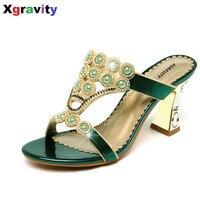 السيدات مثير أحذية الصيف الجديدة عارضة اللباس أحذية مثير الكريستال حجر الراين تصميم المرأة صندل الساخن السيدات فليب بالتخبط النعال b265