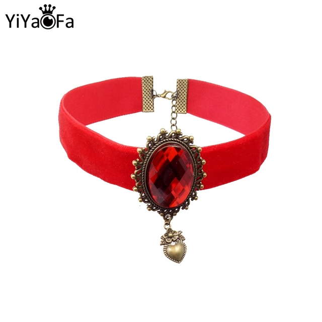 Yiyaofa Handmade Red Ribbon Choker Necklace Pendant Women Accessories Gothic Jewelry Statement Party Dd 31