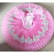 Розовый балетный танцевальный костюм с блестками для девочек; одежда; Балетные платья; детское карнавальное платье Лебединое озеро пачка; Одежда для танцев
