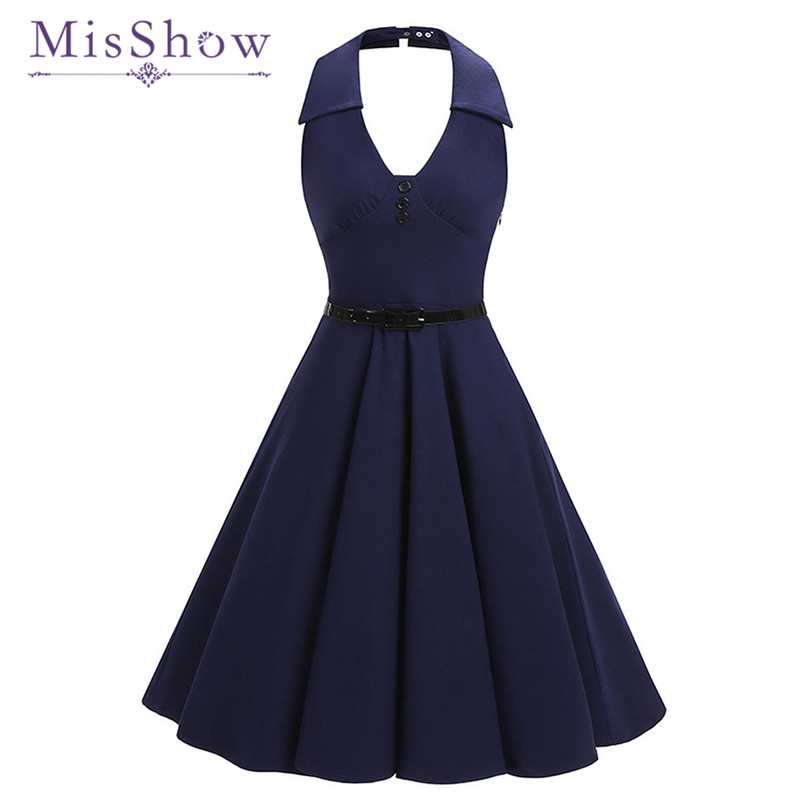 MisShow Sexy Halter Summer Dress Sleeveless Women Summer ...