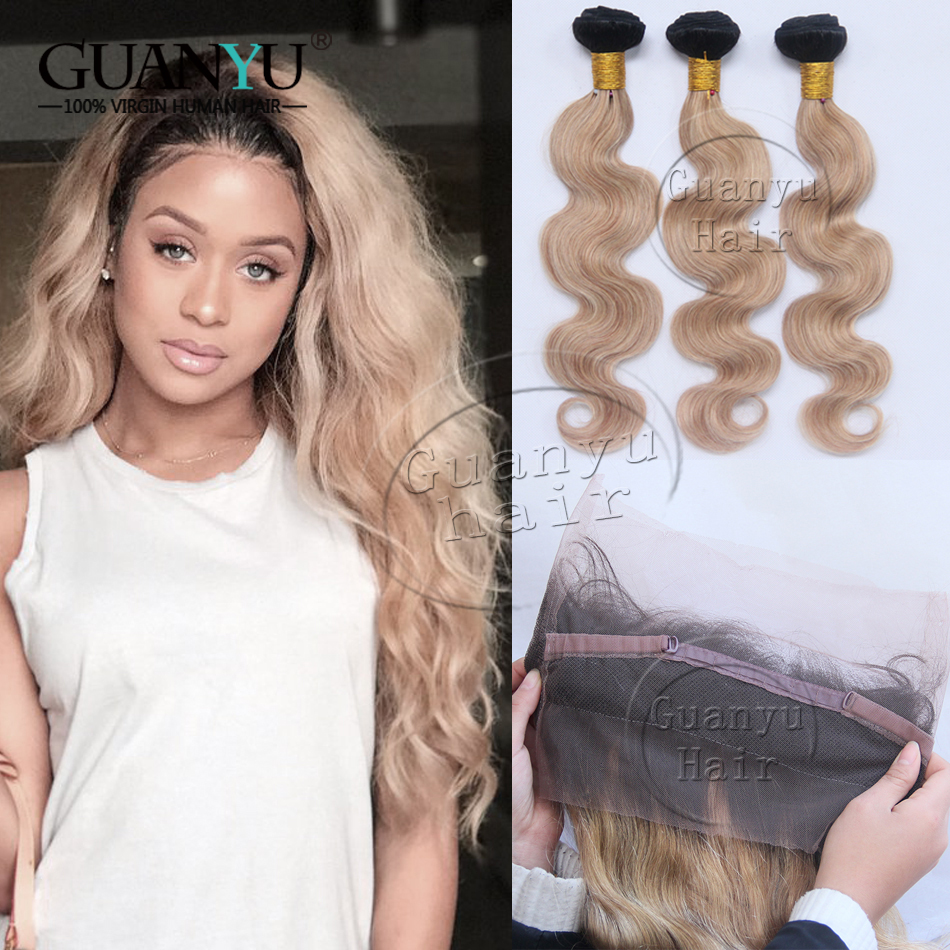 Guanyuhair #27 Honey Blonde Body Wave Malaysia Human Hair 3 Bundles With Frontal Closure 13x4 Ear To Ear Human Hair Weaves