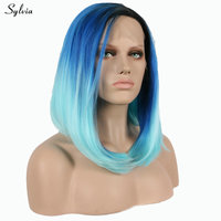Sylvia High Temperature Fiber Ombre Blue Wig Natural Straight Short Bob Wig Synthetic Lace Front Women Wigs Cosplay Middle Part