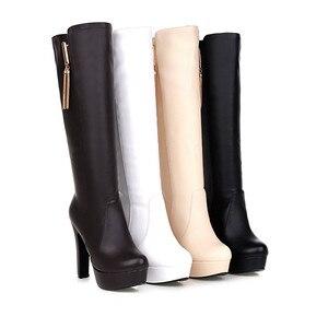 Image 2 - Morazora spuerサイズ 34 45 膝高女性puソフトレザーファッション靴プラットフォームブーツ固体ホット販売