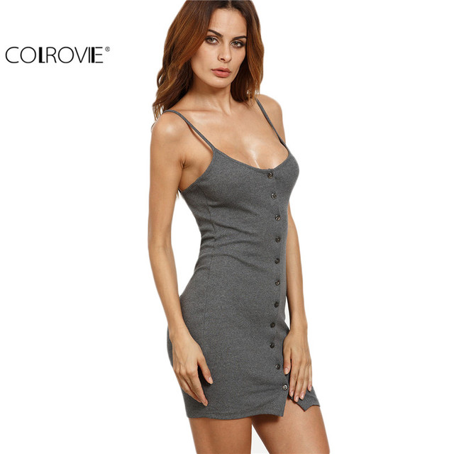 Colrovie verão feminino cinza abotoado frontal com nervuras bodycon cami dress spaghetti strap mangas backless mini dress