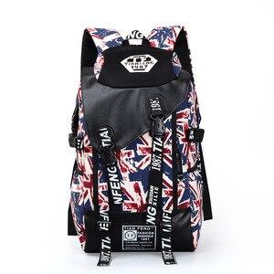 Image 4 - 落書きノートパソコンのバックパック男性キャンバススクールバッグ十代の少年大漫画手紙印刷バックパック旅行バッグ mochila XA1788C