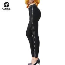 Aofuli M~ 5XL Ladies Knitted Leggings Stretchable Long Pencil Pants Side Split Women Big Size Fall Winter Black Trousers 6307