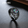 ZOURU Brand New Fashion Gun Black Gold Plated Clearance Round Colorful AAA Cubic Zircon  Ring Fine Women Jewelry Free Shipping