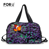 FORUDESIGNS Purple Fish Printing Large Canvas Women Yoga Gym Bags 28L Capacity Luggage Travel Duffle Bags Men Sport Ball Bag