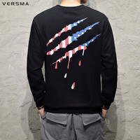 VERSMA 2017 High Street Hip Hop American Flag Printed Hoodies Sweatshirts Men Autumn Japanese Harajuku Claw