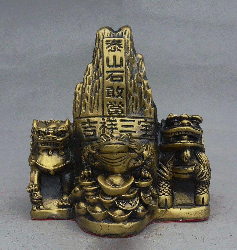 6 Folk China FengShui Bronze Auspicious Kylin Lion Money Toad Shigandang Statue6 Folk China FengShui Bronze Auspicious Kylin Lion Money Toad Shigandang Statue