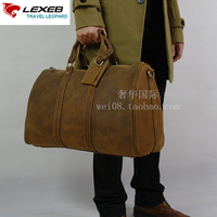 LEXEB Real Natural Cow Leather Travel Suit Bag For Men, Carry On Luggage Overnight Weekend Tote Duffle Bag Fit 17'' laptop Brown