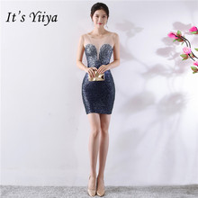 Its Yiiya gradient color party dress Elegant beading Sequined O-neck sleeveless evening dresses Sexy short gowns C069