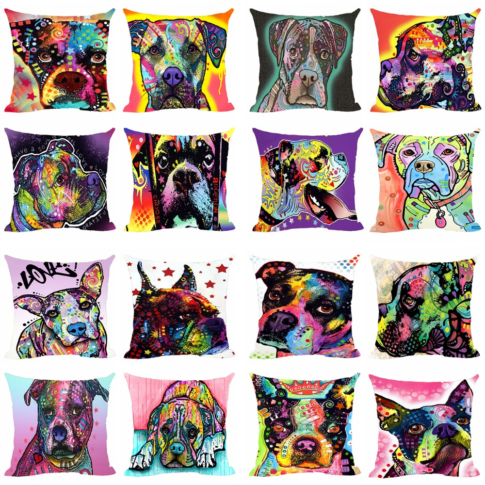 Us 599 Funny Pillow Covers Pet Dog Boxer Cushion Cover Sofa Bed Chair Decorative Pillowcase Customize Gift Animals Canvas Pillow Cases In Cushion