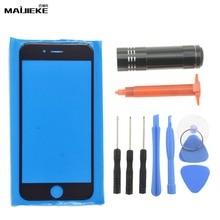 חדש MAIJIEKE לוח מגע חיצוני זכוכית עבור iPhone 8 7 בתוספת 6 s 6 בתוספת 5 5S קדמי זכוכית עדשה מסך החלפת UV דבק כלים סט