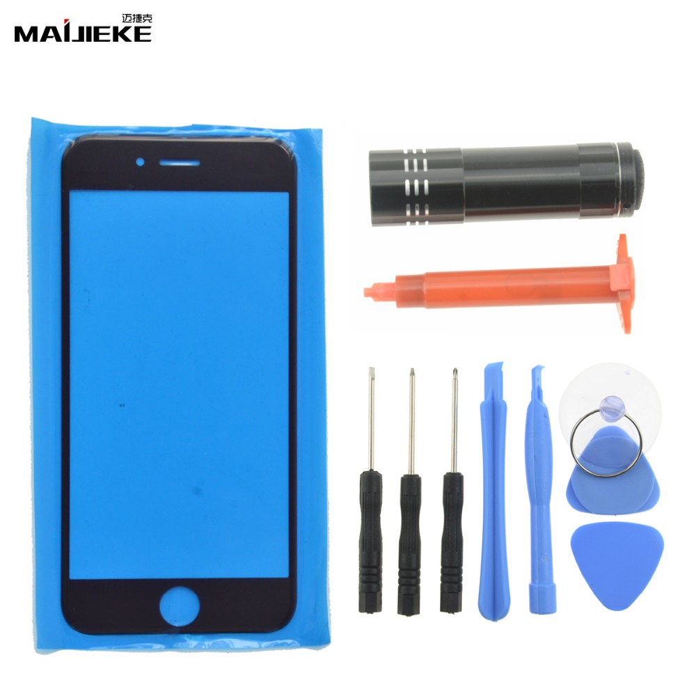 New MAIJIEKE Touch Panel Outer Glass For iPhone 8 7 plus 6s 6 plus 5 5s Front Glass Lens Screen Replacement UV Glue Tools SetNew MAIJIEKE Touch Panel Outer Glass For iPhone 8 7 plus 6s 6 plus 5 5s Front Glass Lens Screen Replacement UV Glue Tools Set