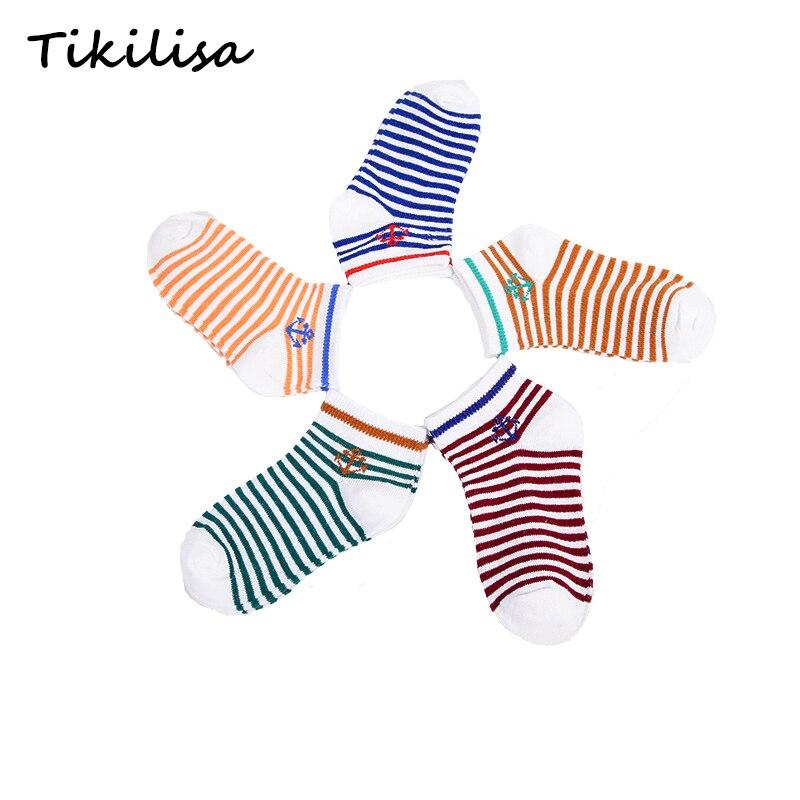 5 pairs/lot New Cotton Brand Soft Boys Girls Socks Cute Anchor Stripe Stars Summer Kids Socks Baby Boy Styles Warm Socks 1-9Y