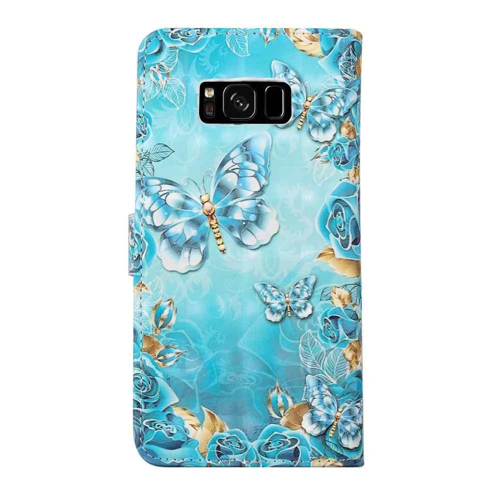 Для Samsung Galaxy S6 S7 Edge S8 S9 S10 Lite Plus цветной стиль Бабочка 3D кошелек кожаный чехол флип-подставка сумка для мобильного телефона
