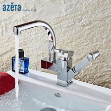 Azeta Deck Mounted Kitchen Faucet Dual Spout Water Outlet Kitchen Tap Pull Out Swivel Kitchen Mixer Chrome Kitchen Faucet AT9968 цена и фото