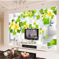 Customization Modern 3D Wallpaper Murals White Flower Non Woven Mural Sofa TV Background Wall Paper For