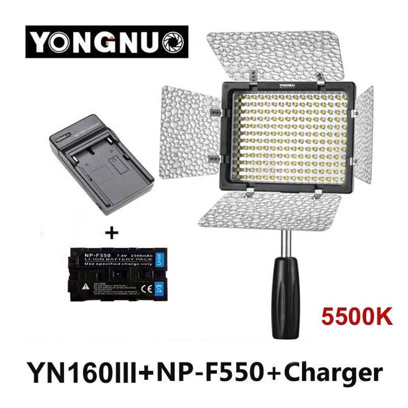 Yongnuo YN160 III 5500K CRI95 160 LED Video Light + 2300mAh NP-F550 battery for Canon Nikon Sony DSLR & Camcorder np f960 f970 6600mah battery for np f930 f950 f330 f550 f570 f750 f770 sony camera