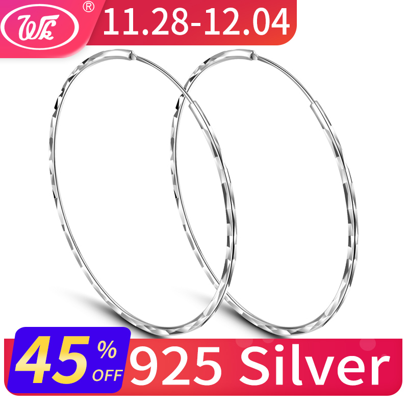 1709d4576 WK Real 925 Silver Round Circle Hoop Earrings Jewellery For Women Thin  Small Big Hoops 25MM 30MM 35MM 45MM 50MM 55MM W4 ED009 - Brandsfire.com