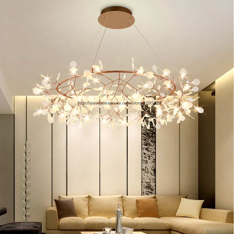 Modern Round Cherry Blossoms LED Chandelier Lighting Gold/Black Dining Room  Circle Ceiling Fixture Light  In Chandeliers From Lights U0026 Lighting On ...
