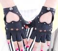 women's fashion genuine Sheepskin leather gloves lady's  semi-finger heart cutout gloves girls dance sexy punk rivet gloves