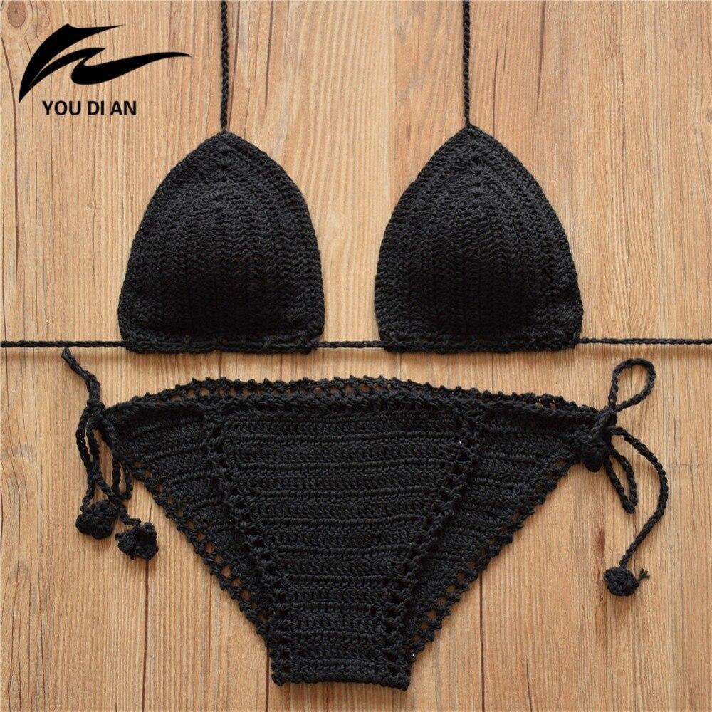 2018 סקסי בגד ים סרוגה ביקיני סט בגדי ים נשים רחצה חליפת בעבודת יד סרוג בגד ים ברזילאי biquini ביקיני