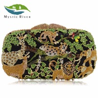 Mystic River Women Luxury Crystal Clutch Evening Bags Animal Zoo Clutches Bag Hollow Out Party Purses