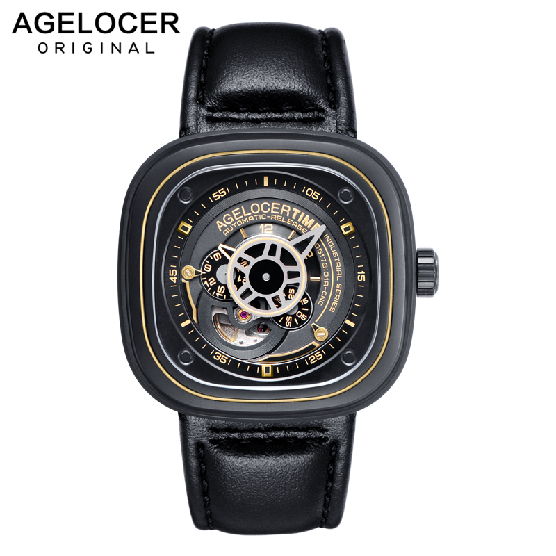 relogio masculino New AGELOCER Automatic Watches Men Mechanical Clock Genuine Leather Strap 50m Water Resistancerelogio masculino New AGELOCER Automatic Watches Men Mechanical Clock Genuine Leather Strap 50m Water Resistance